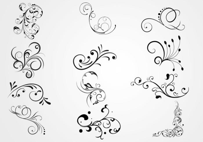 Swirly floral scrolls vectors