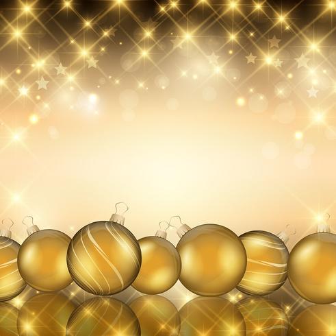 Enfeites de Natal dourados vetor