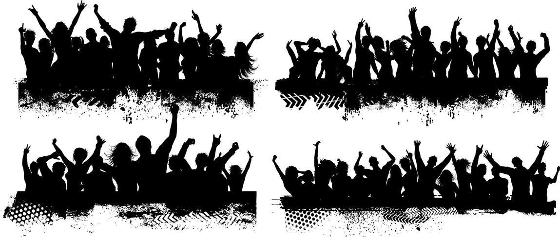 Cenas da multidão de grunge vetor