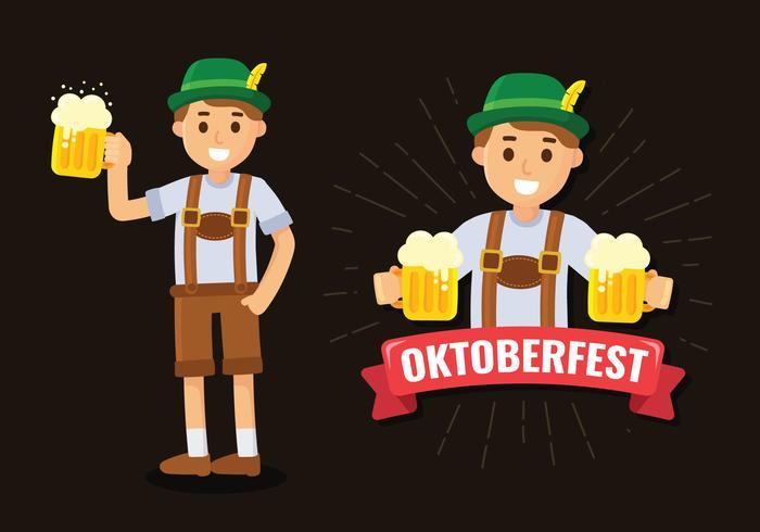 Homem de Oktoberfest em Lederhosen vetor