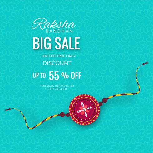 Banner de venda grande ou cartaz para festival indiano de raksha bandhan vetor