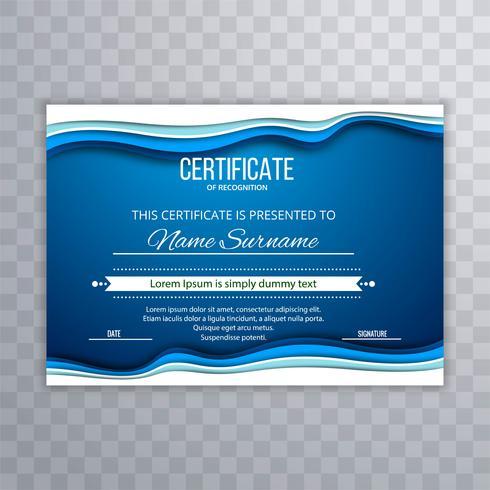 Fundo abstrato modelo de certificado azul vetor