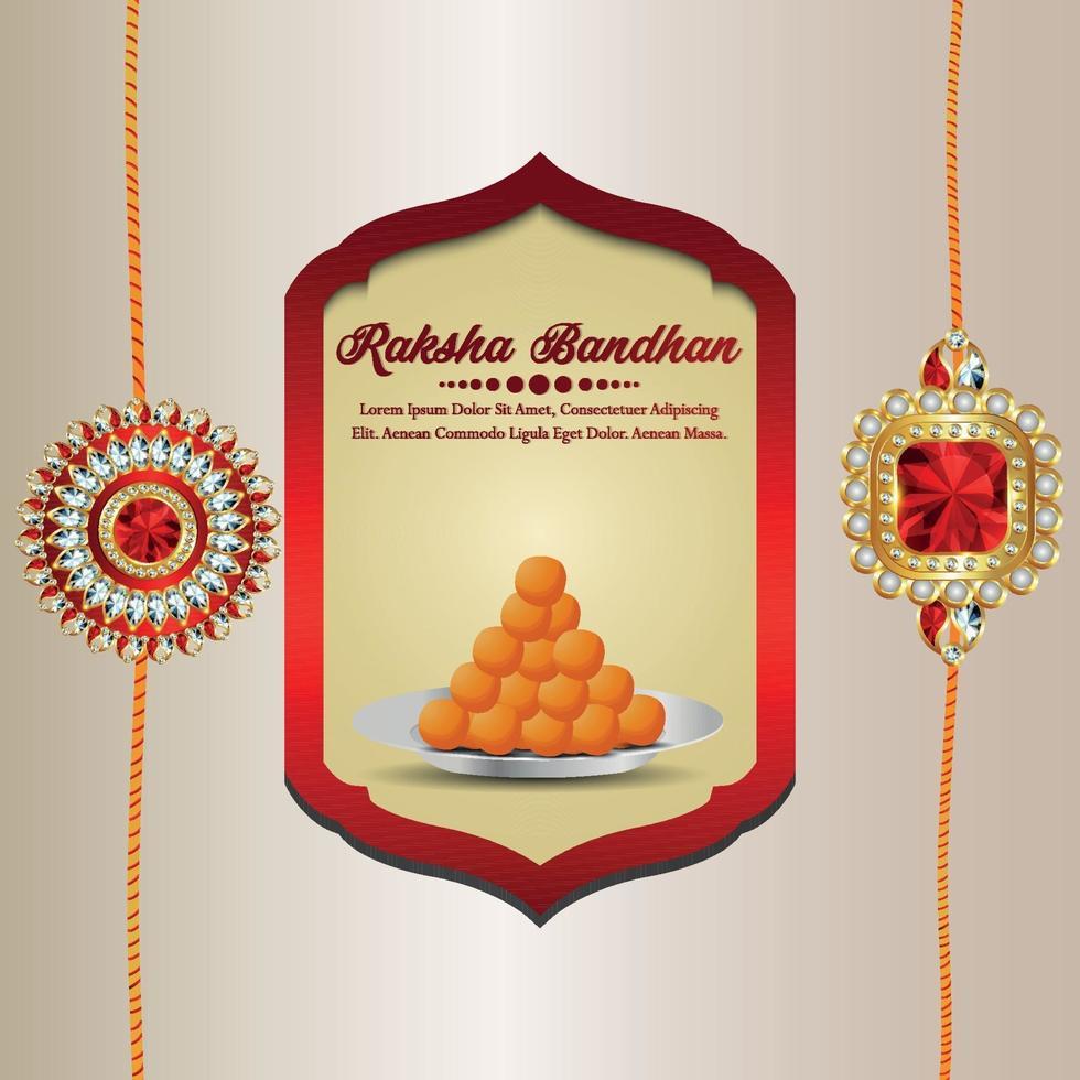 ilustração em vetor convite raksha bandhan com rakhi de cristal no fundo criativo