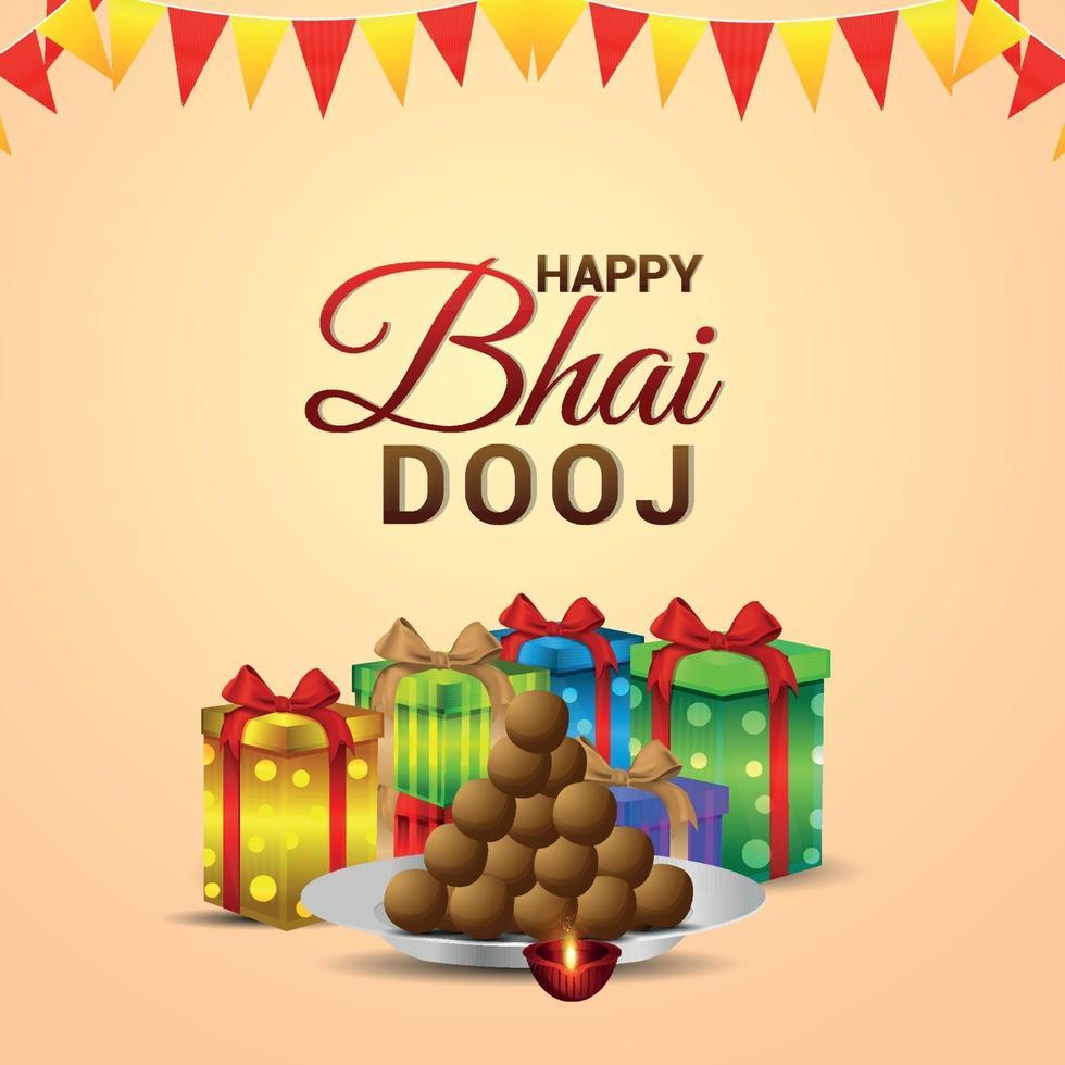 Feliz bhai dooj cartão de felicitações para o festival indiano com presentes de vetor e doces