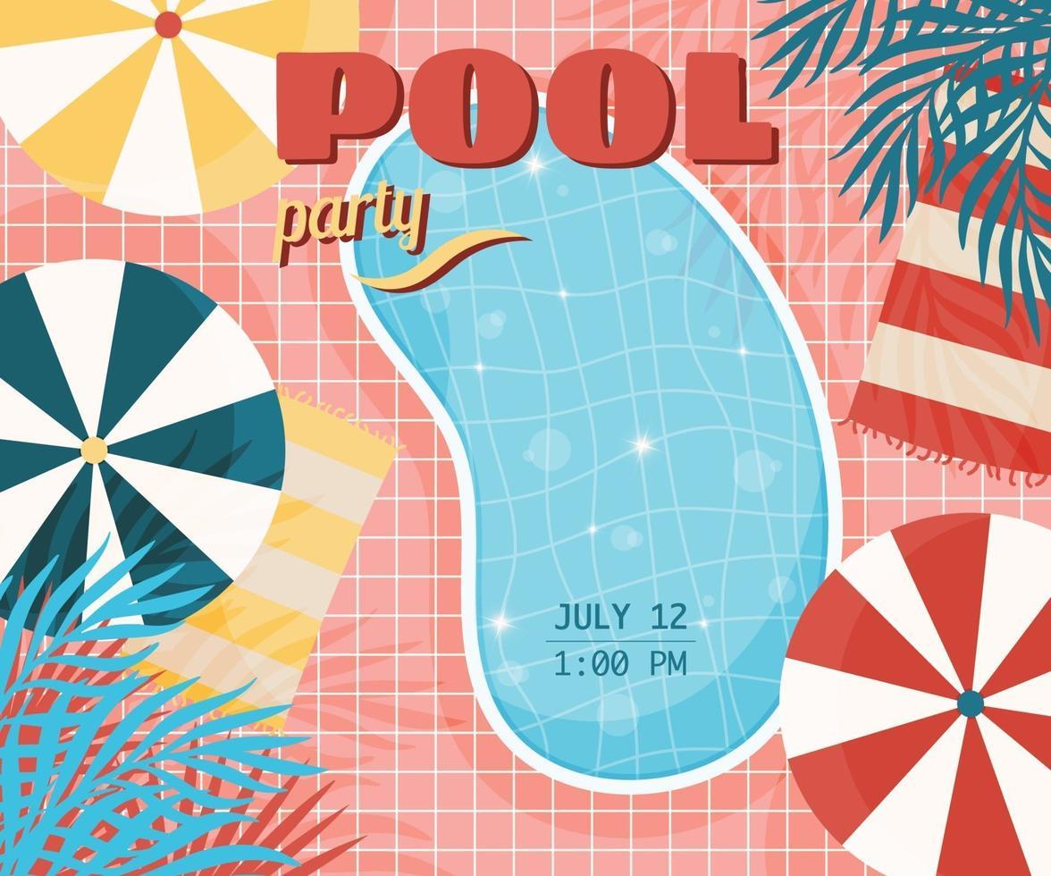 convite de pôster de festa na piscina vetor