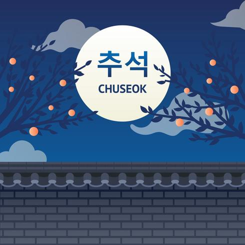 Saudação Chuseok vetor