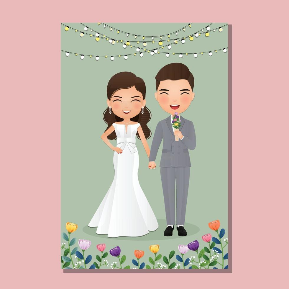 cartão de convite de casamento dos noivos casal fofo personagem de desenho animado. vetor