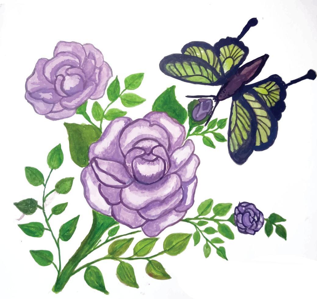 flor aquarela e plantas verdes aquarela vetor