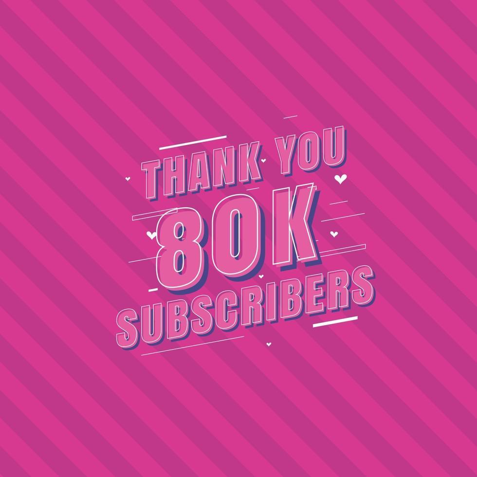 obrigado celebração de 80 mil inscritos vetor