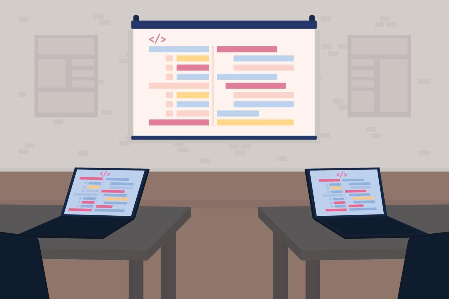 seminário para desenvolvedores ilustração vetorial de cores planas vetor