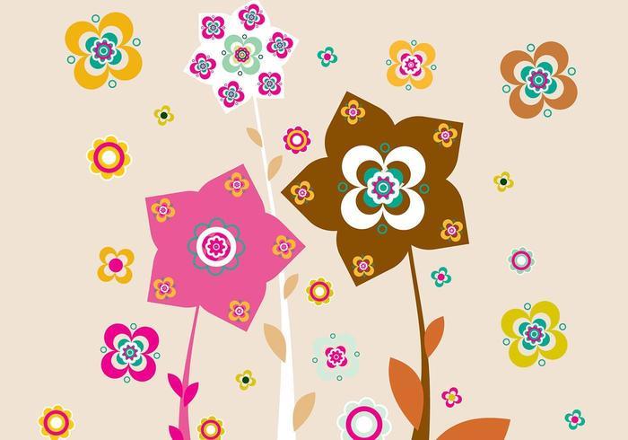 Papel de Parede de Ilustrador Floral Rosa e Castanho vetor