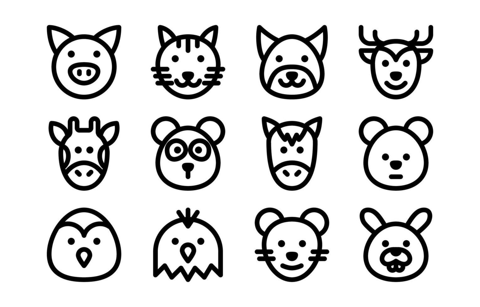 ícone de conjunto de animais vetor