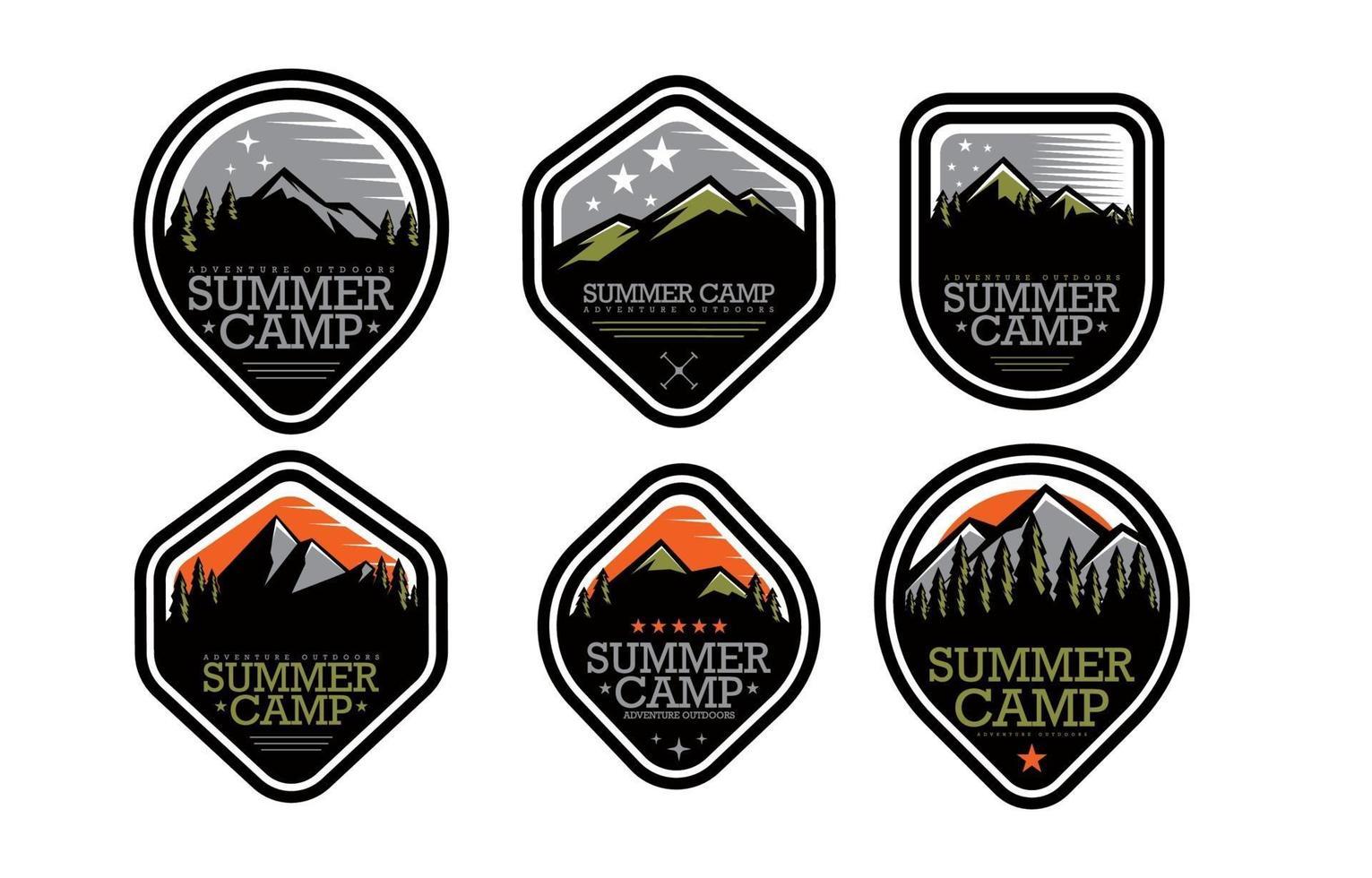 conceito de emblema de acampamento de verão vetor