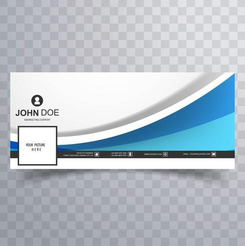 Capa de modelo moderno facebook onda azul vetor