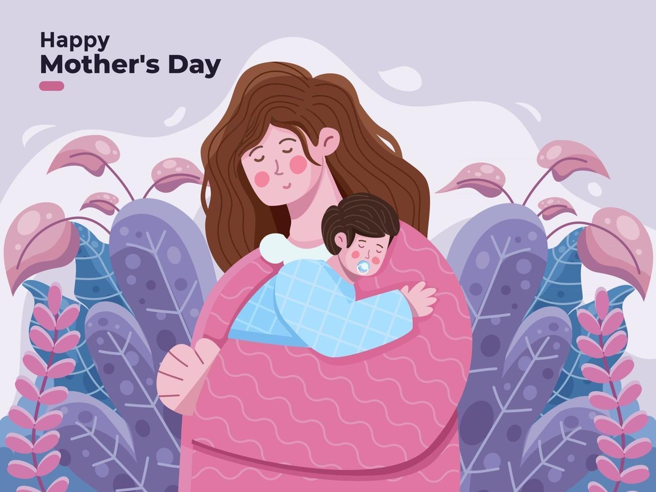 ilustração de dia das mães feliz com a mãe abraçando seu filho com muito carinho e amor. mãe segurando o filho nos braços, cumprimentando feliz dia das mães adequado para banner cartão postal banner pôster convite impressão vetor