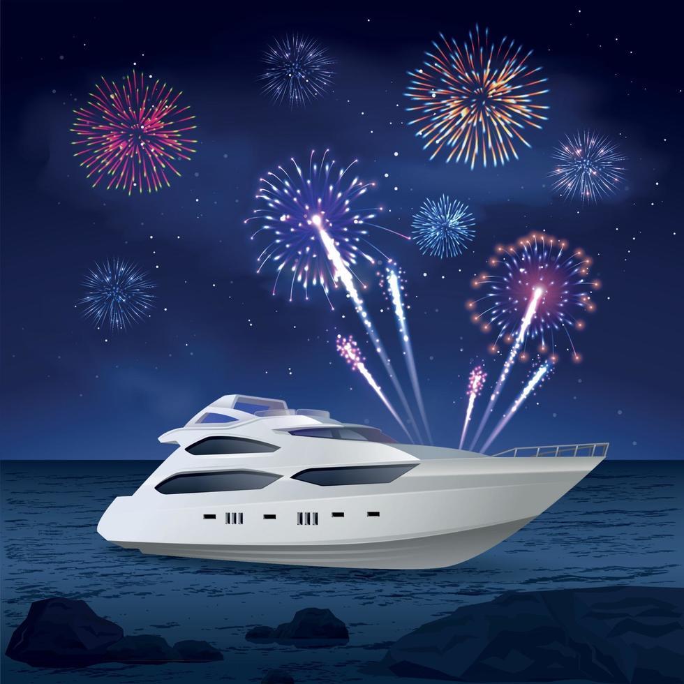 composição de fogos de artifício de cruzeiro de férias vetor