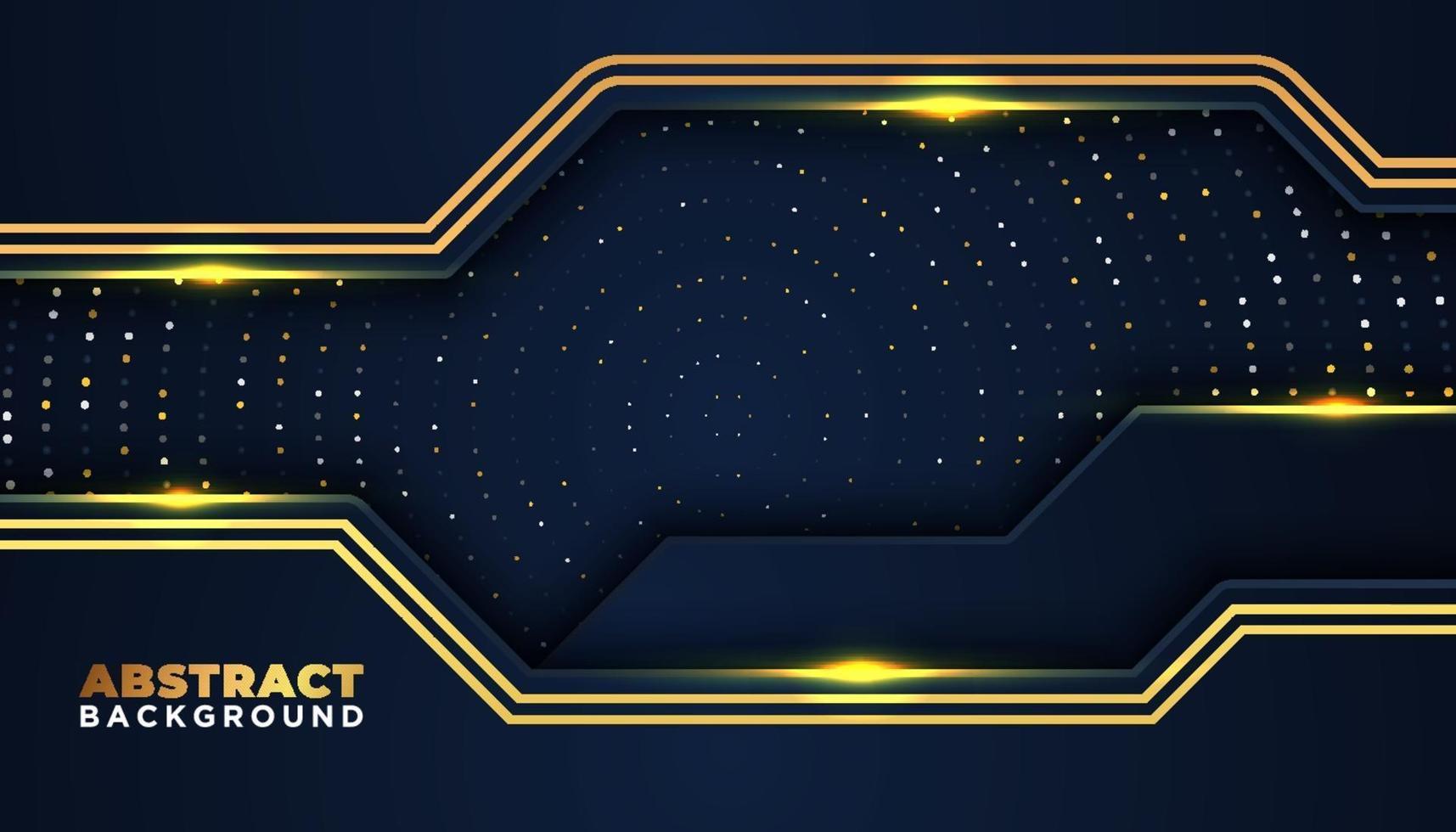 fundo abstrato escuro com camadas sobrepostas elementos de pontos brilhantes dourados decoração conceito de design de luxo vetor