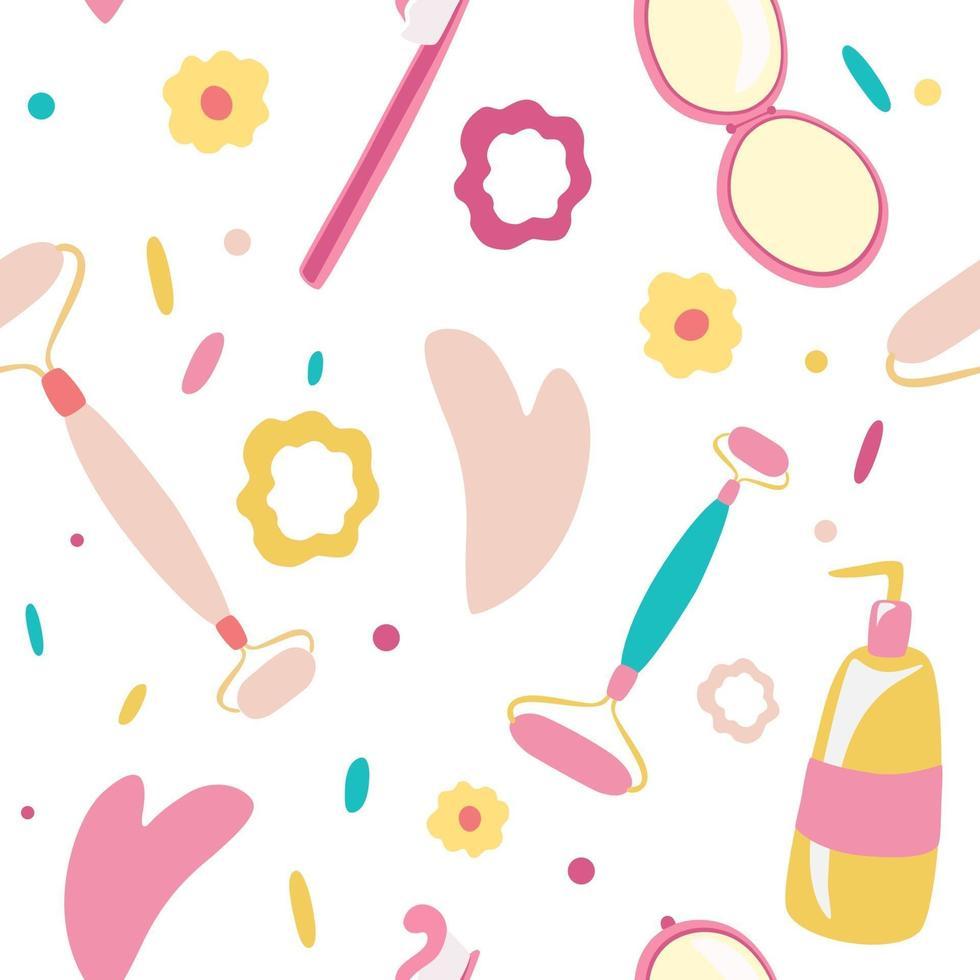 produtos de higiene e acessórios vetoriais sem costura padrão maquiagem cosméticos ferramentas e beleza cosméticos guache massagem facial creme escova de dentes facial cuidados com a pele massagem lavagem facial fundo transparente vetor