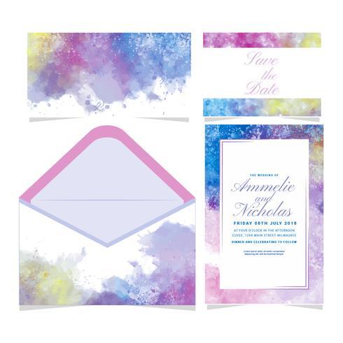 Convite colorido do casamento de Watecolor do vetor