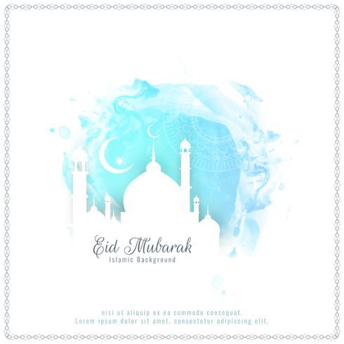 Resumo Eid Mubarak fundo aquarela elegante vetor