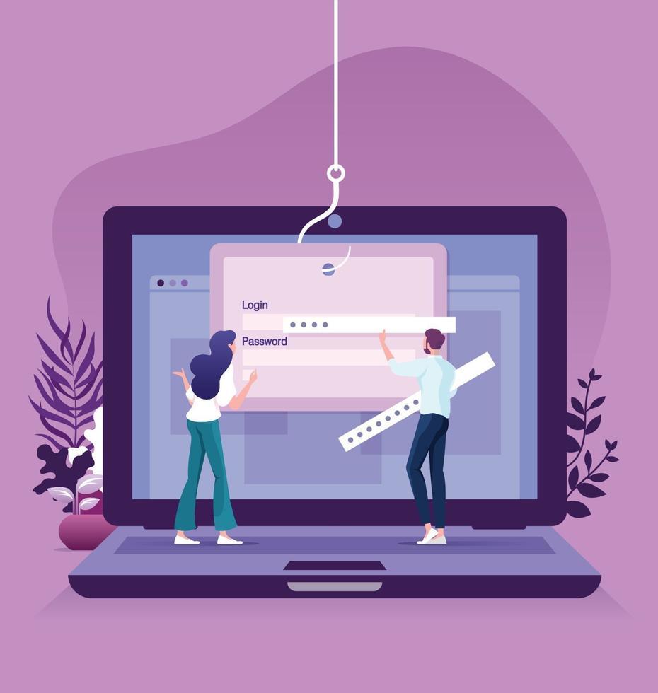 phishing de dados pirataria online em conceito de laptop de computador vetor
