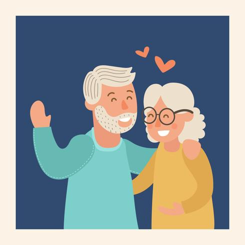 Ilustração em vetor feliz avós