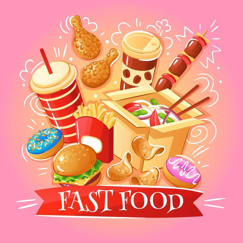 ilustração em vetor fast food