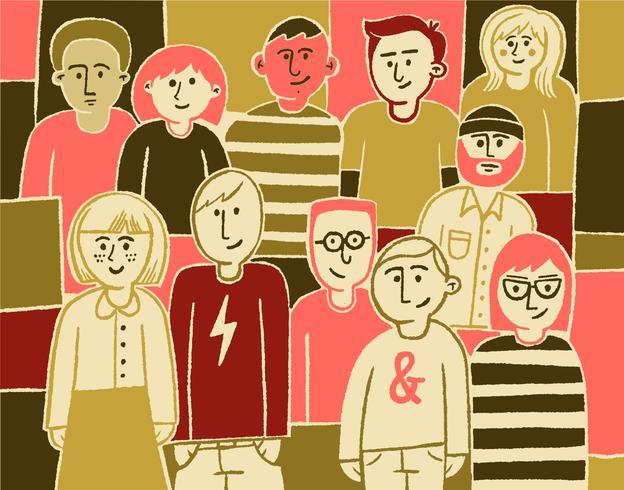 Grupo colorido de pessoas vetor