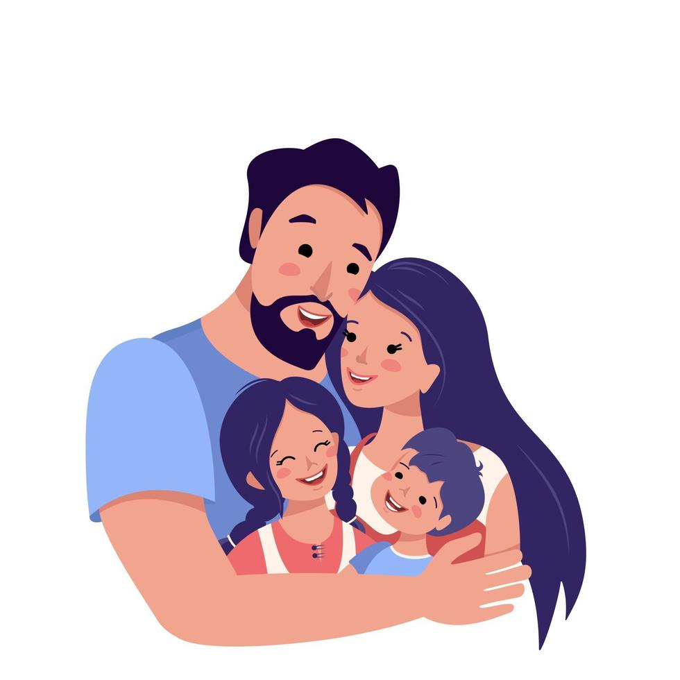 Família feliz junto avatar. dia internacional da família. pai feliz abraços mãe e filhos. grupo de pessoas. pai, mãe, filha e filho. ilustração vetorial vetor