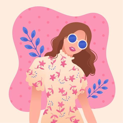 Garota com cabelo ondulado e vetor de óculos