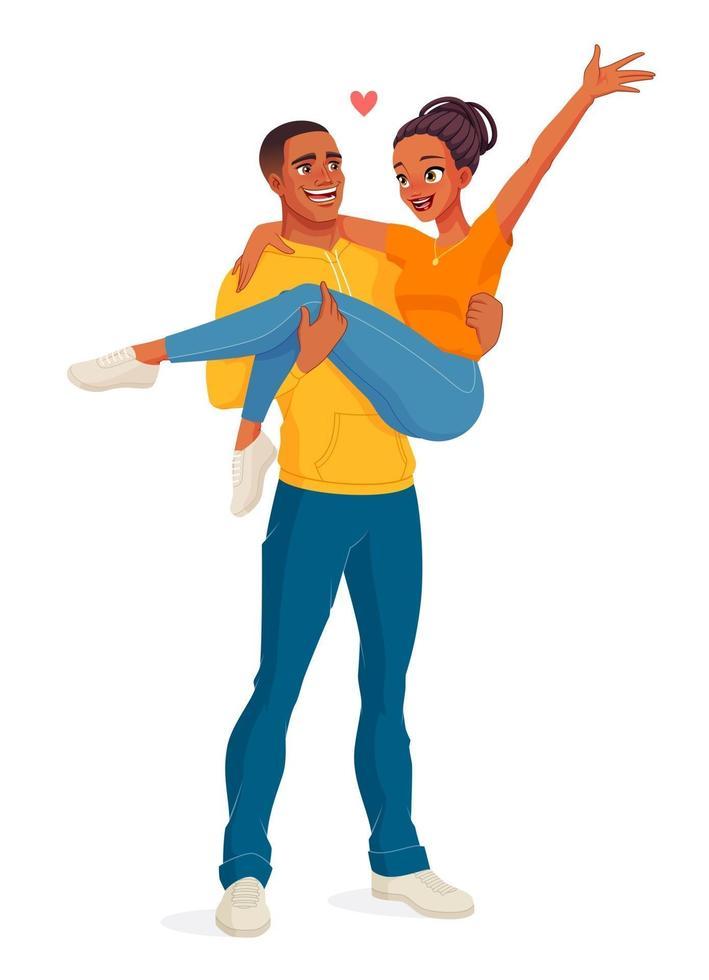 homem carregando mulher feliz casal preto ilustração vetorial vetor