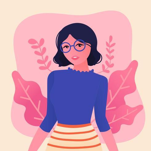 Menina, com, cabelo ondulado, e, óculos vetor
