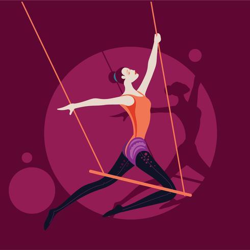 Realizando Artista Trapézio Mulher no Circo vetor