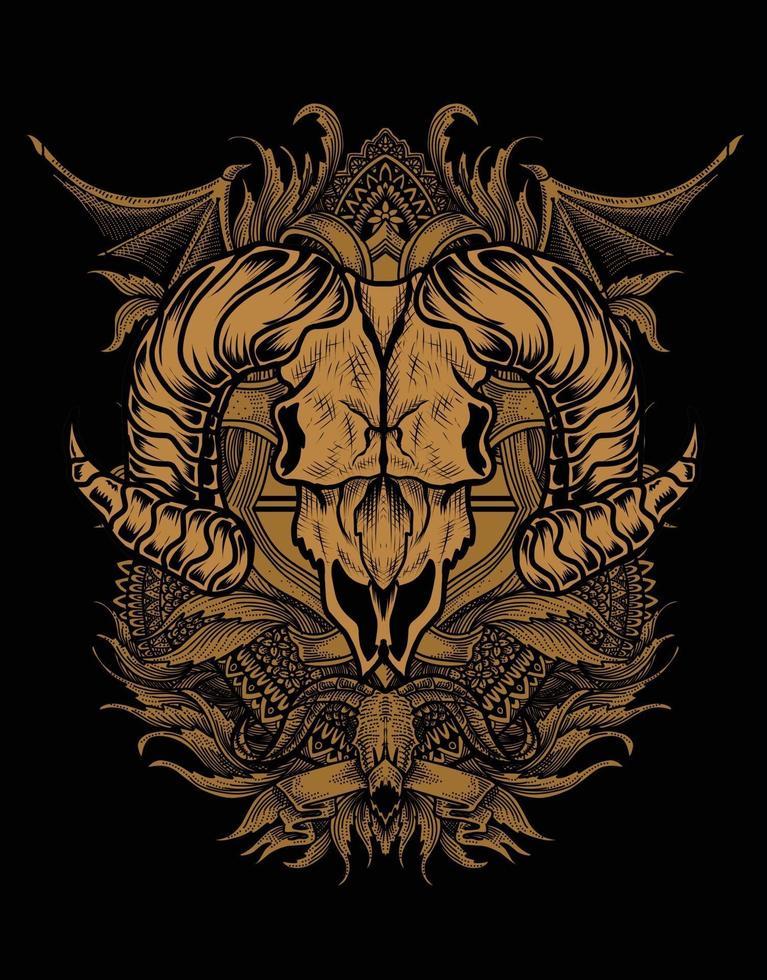 ilustração caveira de cabra com geometria sagrada vetor