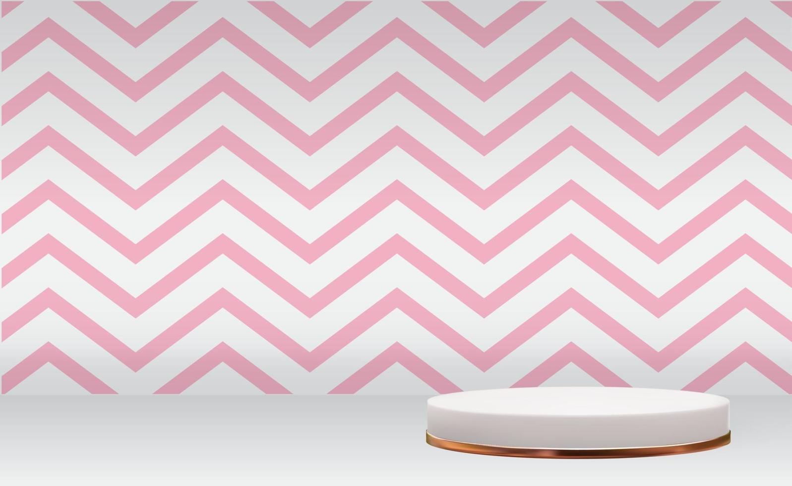 fundo de pedestal 3d branco com moldura de anel de vidro dourado e onda rosa para revista de moda de apresentação de produtos cosméticos vetor
