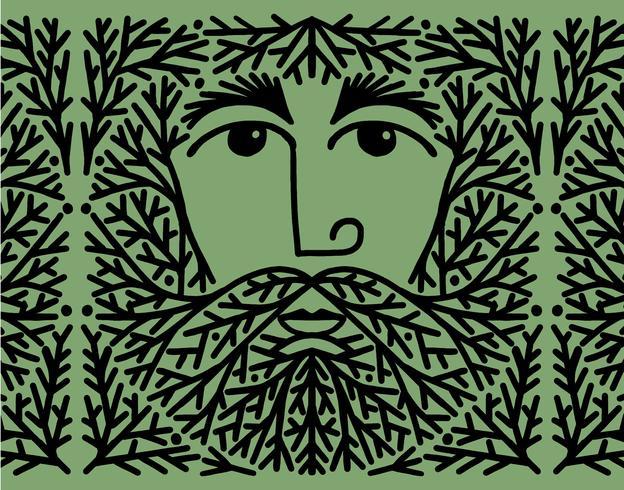 homem de barba de árvore vetor