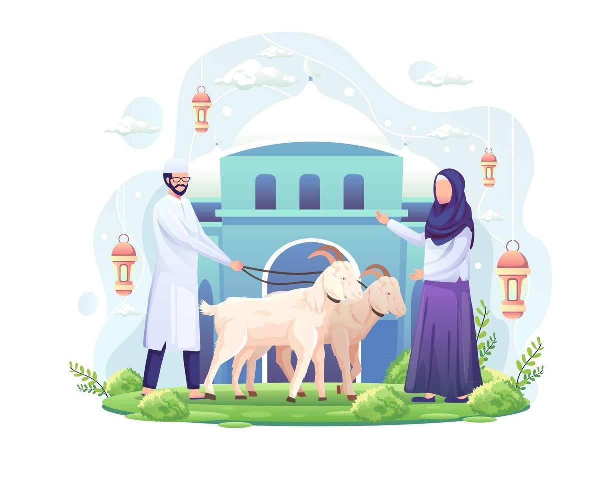 o casal comemora eid al adha doando duas cabras para ilustração vetorial de qurban eid al adha mubarak vetor