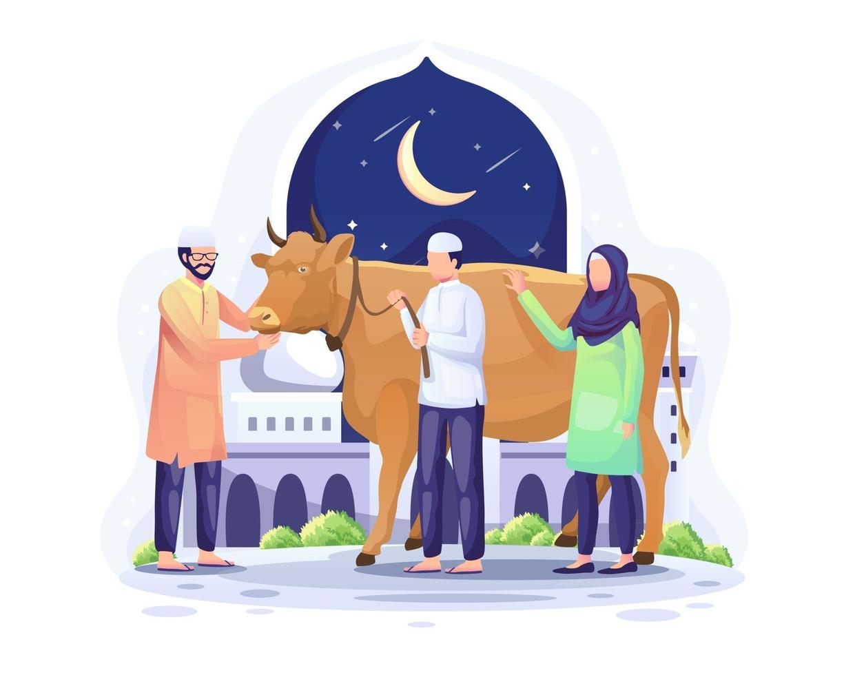 pessoas doam uma vaca para ser sacrificada ou qurban na ilustração vetorial de eid al adha mubarak vetor