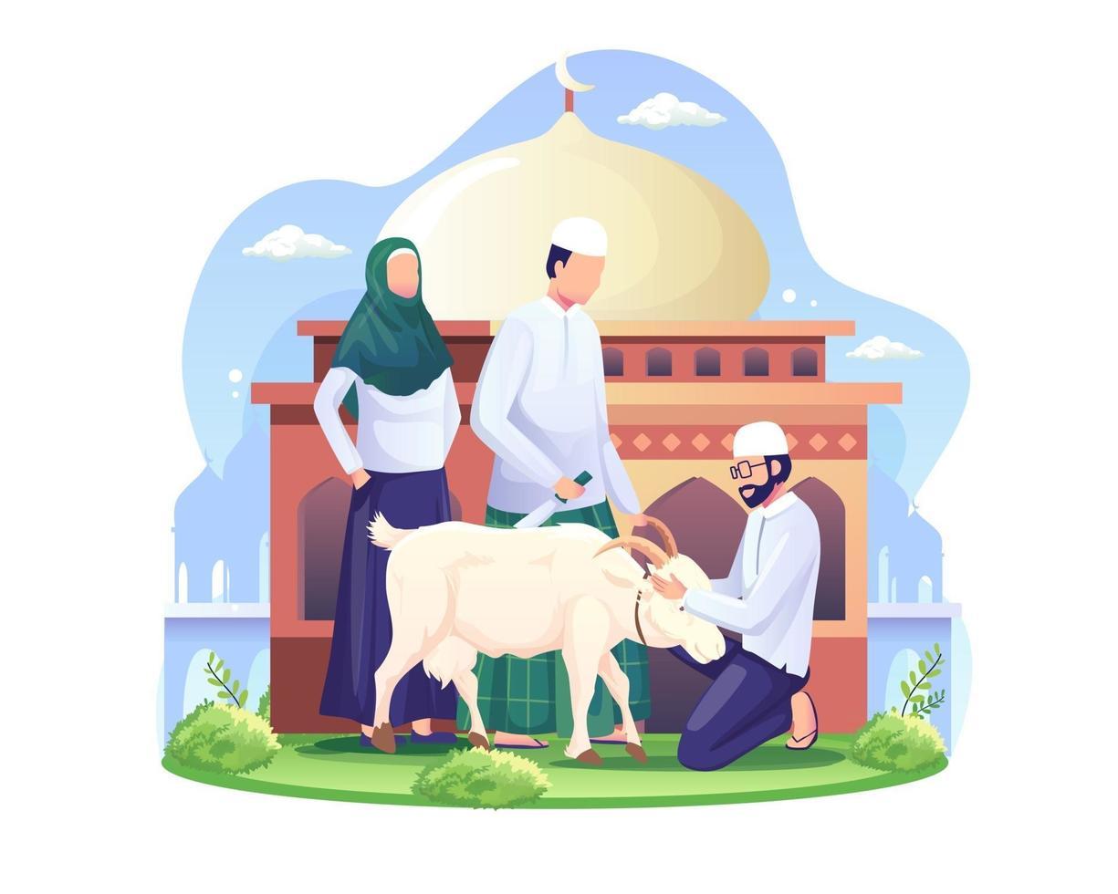 pessoas estão sacrificando cabras ou qurban em ilustração vetorial eid al adha feliz eid al adha mubarak vetor