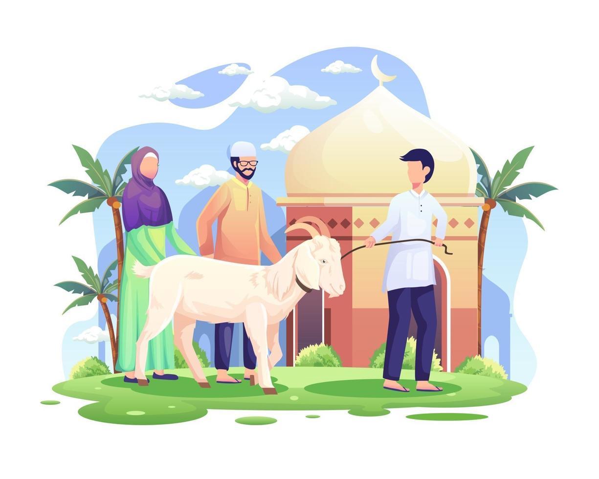 pessoas trazem uma cabra para o qurban ou sacrifício na ilustração vetorial de eid al adha mubarak vetor