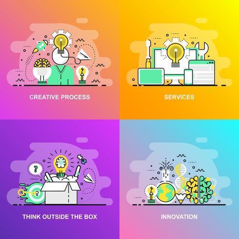 Moderna linha plana gradiente suave conceito web banner de serviços, pensar fora da caixa, inovação e processo criativo vetor