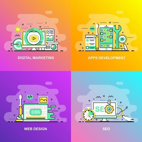 Moderna linha plana gradiente suave conceito web banner de SEO, Web Design, desenvolvimento de aplicativos e Marketing Digital vetor