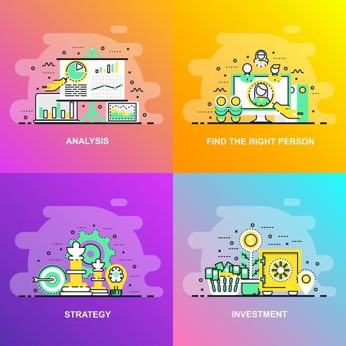 Moderna linha plana gradiente suave conceito web banner de investimento, estratégia, análise e encontrar a pessoa certa vetor