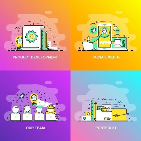 Moderna linha plana gradiente suave conceito web banner de mídias sociais, nossa equipe, portfólio e desenvolvimento de projeto vetor