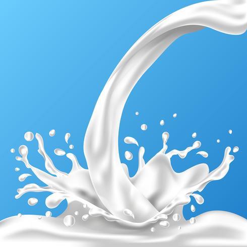 Espirrando e girando o líquido de leite para o projeto no fundo azul vetor
