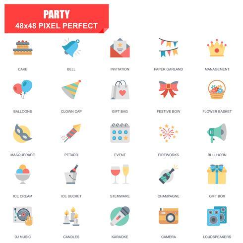Conjunto simples de ícones plana de vetor relacionados festa