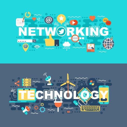 Conjunto de redes e tecnologia de conceito plana vetor