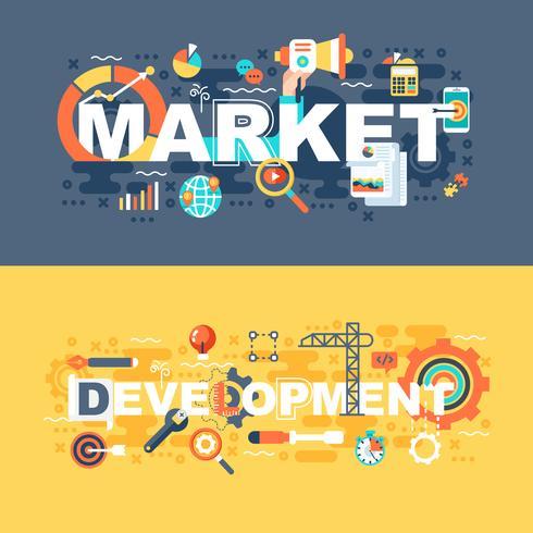 Mercado e desenvolvimento conjunto de conceito plana vetor