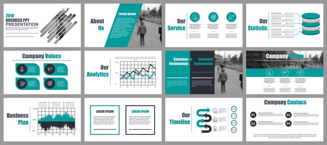 Modelos de slides de PowerPoint de apresentação de negócios de elementos de infográfico. vetor