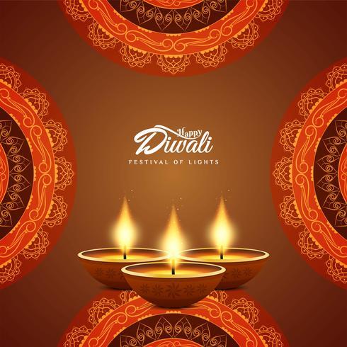 Fundo de saudação feliz festival de Diwali feliz vetor